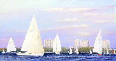 Painting - Sailing The Britannia  by Al Hunter