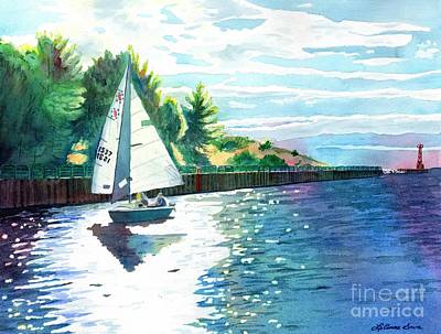 Comedian Drawings - Sailing the Channel by LeAnne Sowa