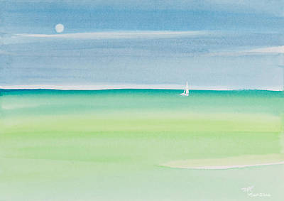 Sailing The Keys Watercolor Painting Art Print by Michelle Wiarda