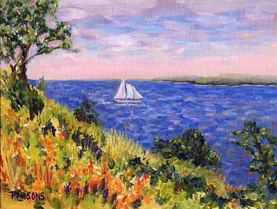 Sailing Through Belfast Maine Print by Pamela Parsons