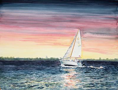 Kristine Painting - Sailing Through Life by Kristine Plum