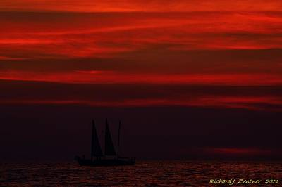 Art Print featuring the photograph Sailing Through The After Glow by Richard Zentner