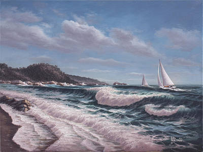 Crashing Wave Painting - Sailing Toward Point Lobos by Del Malonee