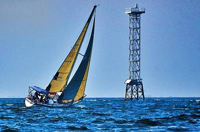Art Print featuring the photograph Sailing Towards The Tower by Pamela Blizzard