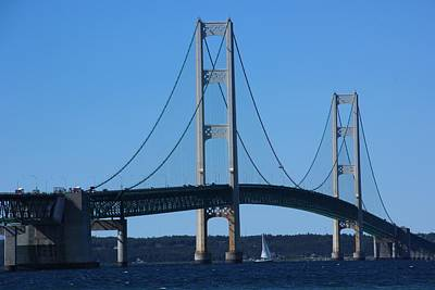 Photograph - Sailing Under Mighty Mac by Bill Woodstock