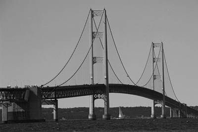 Photograph - Sailing Under Mighty Mac Black And White by Bill Woodstock