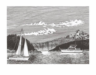 Lighthouse Drawing - Sailing Under Mount Hood  by Jack Pumphrey