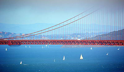 Photograph - Sailing Under The Golden Gate by AJ  Schibig