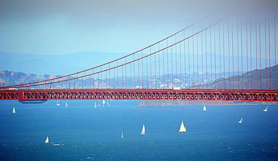 Photograph - Sailing Under The Golden Gate by AJ  Schibig