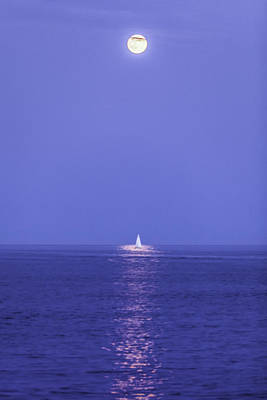 Photograph - Sailing Under The Super Moon by Frederick H Claflin