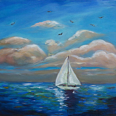 Sailing With My Dad Art Print by Linda Olsen