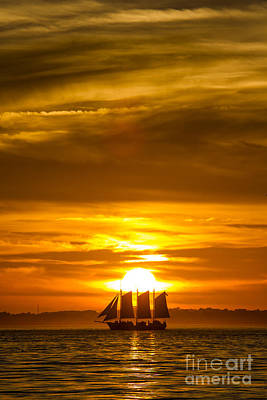 Sailboat Photograph - Sailing Yacht Schooner Pride Sunset by Dustin K Ryan