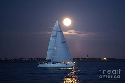 Full Moon Photograph - Sailing Yacht Tohidu by Dustin K Ryan