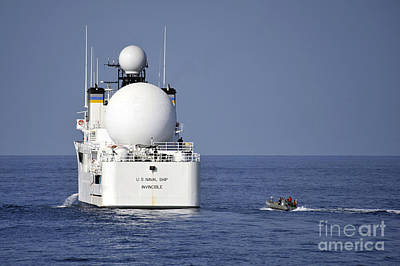 Inflatable Photograph - Sailors In A Rigid-hull Inflatable by Stocktrek Images