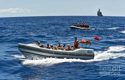 Inflatable Photograph - Sailors In Ridged-hull Inflatable Boats by Stocktrek Images
