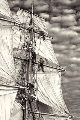 Sailors In Rigging Of Tall Ship Art Print