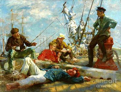 Midday Painting - Sailors Midday Rest - Yarning by Pg Reproductions