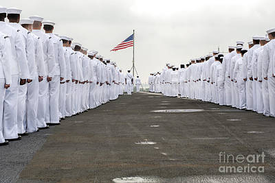 Landmarks Royalty Free Images - Sailors Prepare To Man The Rails Royalty-Free Image by Stocktrek Images