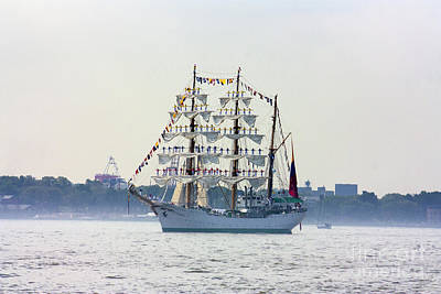 Fleet Week Photograph - Sailors Standing On Masts by Nishanth Gopinathan