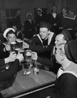 Military Photograph - Sailors Toasting In Celebration Of Victory by Jacob Lofman