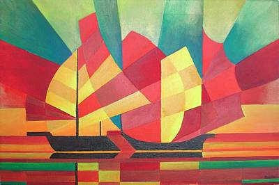 Print featuring the painting Sails And Ocean Skies by Tracey Harrington-Simpson
