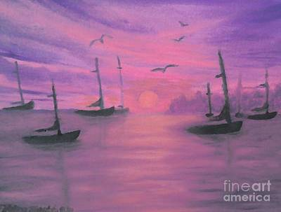 Sails At Dusk Art Print by Holly Martinson