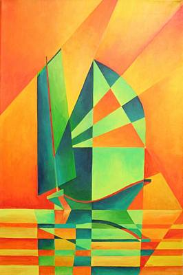Print featuring the painting Sails At Sunrise by Tracey Harrington-Simpson