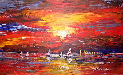 Sails At Sunset Art Print