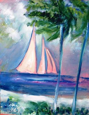Sails In The Sunset Art Print by Patricia Taylor