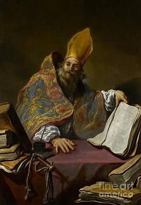 Saint Ambrose Art Print by Claude Vignon