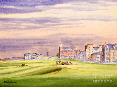 Painting - Saint Andrews Golf Course Scotland - 17th Green by Bill Holkham