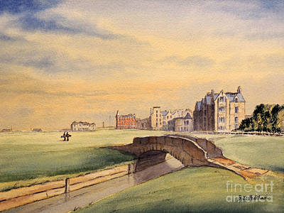 Watercolor Sports Painting - Saint Andrews Golf Course Scotland - 18th Hole by Bill Holkham