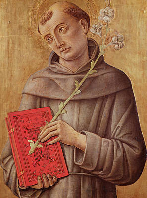 Saint Anthony Of Padua  Art Print by Bartolomeo Vivarini