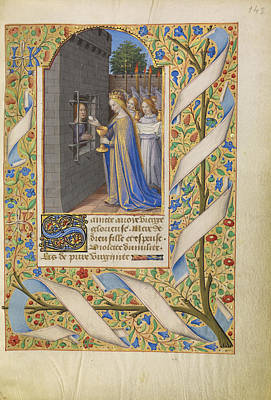 Communion Drawing - Saint Avia In Prison Receiving Communion From The Virgin by Litz Collection