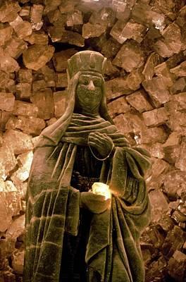 Saint Barbara Wall Art - Photograph - Saint Barbara Statue by Patrick Landmann/science Photo Library