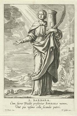 Saint Barbara Wall Art - Drawing - Saint Barbara, Theodoor Galle by Theodoor Galle