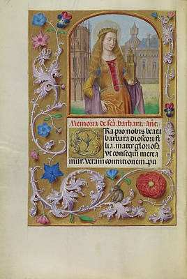 Saint Barbara Wall Art - Drawing - Saint Barbara With A Tower Workshop Of Master Of The First by Litz Collection