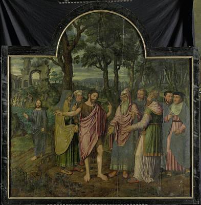 Saint Barbara With Kneeling Donor Berbel Or Barbara Van Der Art Print by Litz Collection