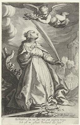 Saint Barbara Wall Art - Drawing - Saint Barbara With Palm And Sword by Bo?tius Adamsz. Bolswert And Abraham Bloemaert