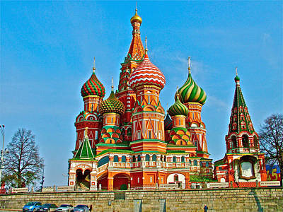 Onion Domes Digital Art - Saint Basil Cathedral In Red Square In Moscow- Russia by Ruth Hager