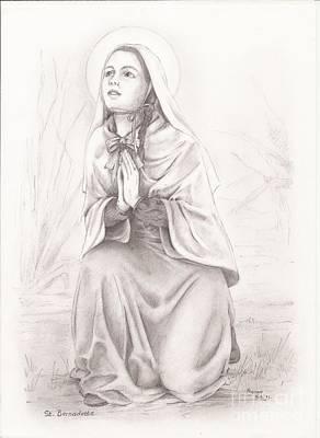 Immaculate Drawing - Saint Bernadette Of Lourdes by Manon  Massari