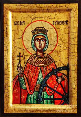 Saint Catherine Of Alexandria Icon Original by Ryszard Sleczka