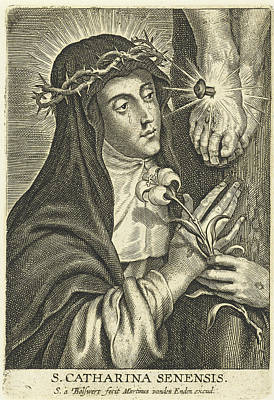 Crucifix Drawing - Saint Catherine Of Siena With Stigmata At Crucifix by Peter Paul Rubens And Martinus Van Den Enden