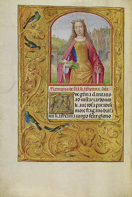 Prayer Drawing - Saint Catherine With A Sword And A Book Workshop Of Master by Litz Collection