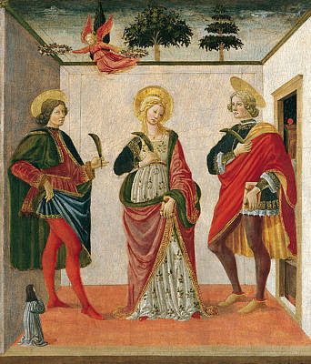 Saint Cecilia Between Saint Valerian And Saint Tiburtius With A Donor Art Print