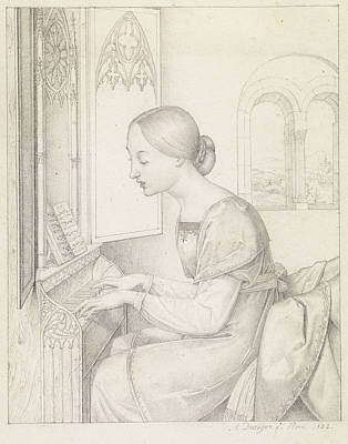 Anton Drawing - Saint Cecilia Joseph Anton Draeger, German by Litz Collection