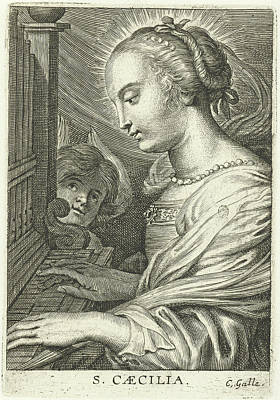 Saint Cecilia With Organ Art Print