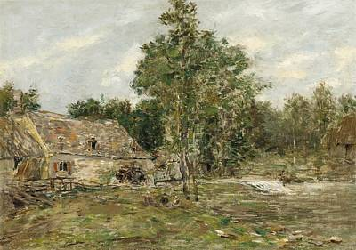 Babbling Brook Painting - Saint-cenery The Mill by Eugene Louis Boudin