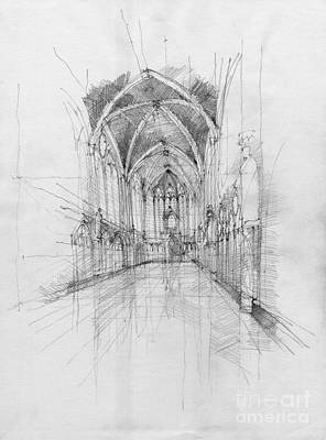 Hand Made Drawing - Saint Chapelle Interior by Peut Etre
