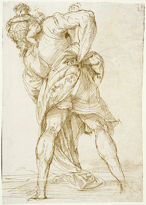 Saint Christopher Drawing - Saint Christopher Domenico Campagnola, Italian by Litz Collection